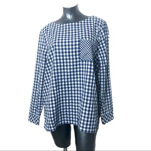 J Jill Blue White Gingham Pattern Blouse Top